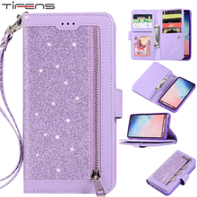 Leather Flip Bling Case For Samsung Galaxy S20 S21 FE S10 S9 S8 Plus Note 8 9 10 20 Ultra S7 Edge Zipper Wallet Card Phone Cover