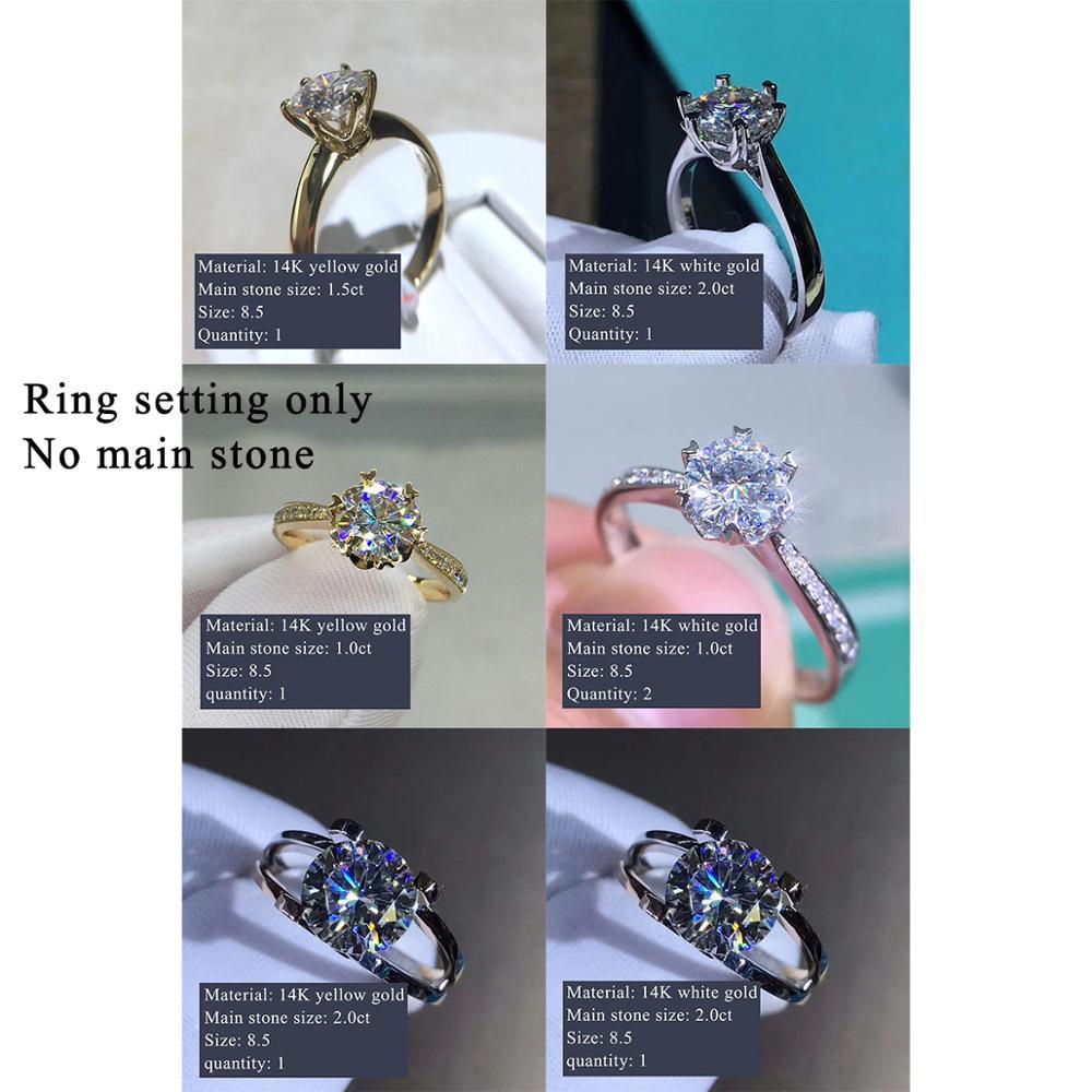 Custom Made 14K Gold Moissanite Ring Holder Ring Setting Without Center Stone Total 7pcs Ring