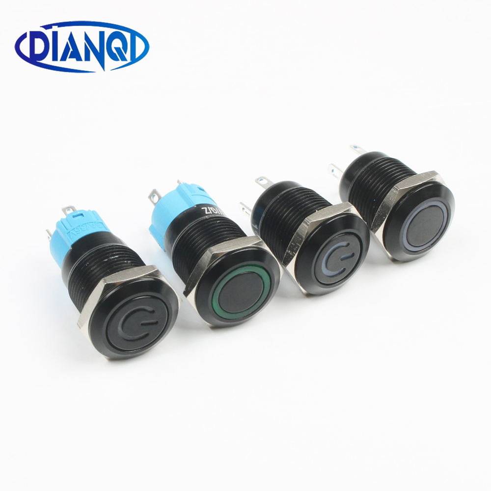 Black Push Button Switch 4 Pin 12mm Waterproof Led Light Metal Flat Momentary/Latching Switches With Power Mark/Ring LED