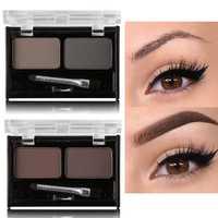 Marke Doppel Farbe Augenbraue Pulver Make-Up Palette Natürliche Braun Augenbraue Enhancer 3D Augenbrauen Schatten Kuchen Schönheit Kit mit pinsel