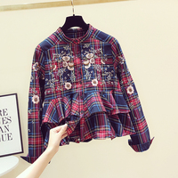 Women Plaid Shirt Loose Long Sleeve Stand Collar Blouse New Korean Retro Embroidery Flower Blusas Female Lady 2019 Autumn