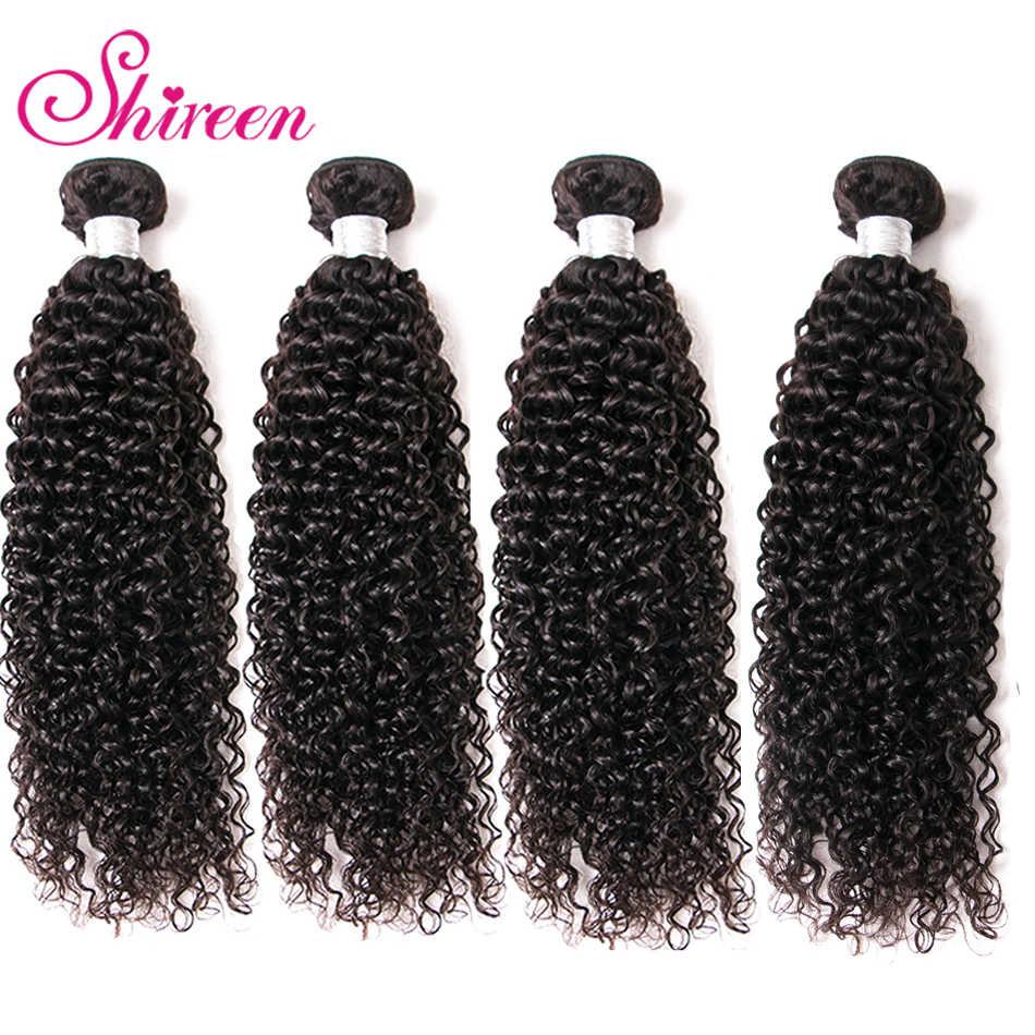 Mongolia Keriting Rambut Keriting 4 Bundel Kesepakatan 100% Online Hitam Non Remy Alami Rambut Manusia Menenun Bundel cheveux bresiliens tissage