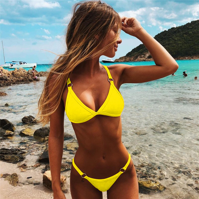 3 Colours High Quality Swimsuit Sexy Thong Two Pieces Swimming Suit Women Low Waist Swimwear Summer Beach Wear Female Biquini