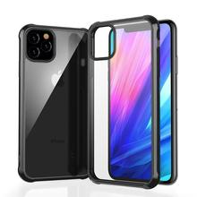 For iPhone XS Max XR X Anti-Knock Case Dual Silicone Bumper + Clear Acrylic Back 11 Pro 7 8 Plus
