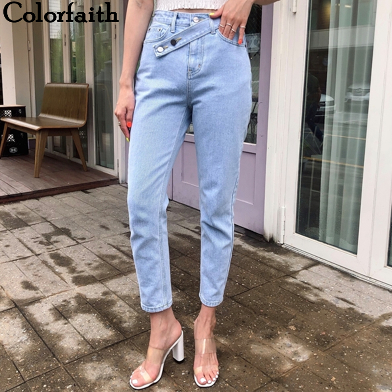 Colorfaith 2019 Women Jeans Denim Casual Vintage Korean Style Blue High Waist Pants For Ladies Grils Ankle Length Jeans J511