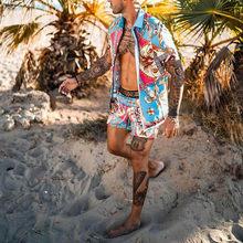 2021 Summer Casual Men's Hawaiian Gothic Suits Printed Short-Sleeved Button Shirt + Beach Shorts Sand Beach Two-Piece