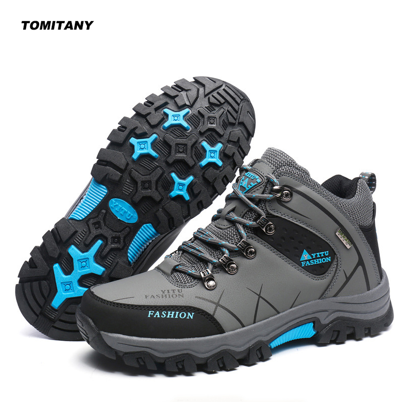 Camping Hiking Shoes Men Leather Waterproof Mountain Climbing Trekking Hunting Boots Man Outdoor Sneakers Men|Hiking Shoes| |  - title=
