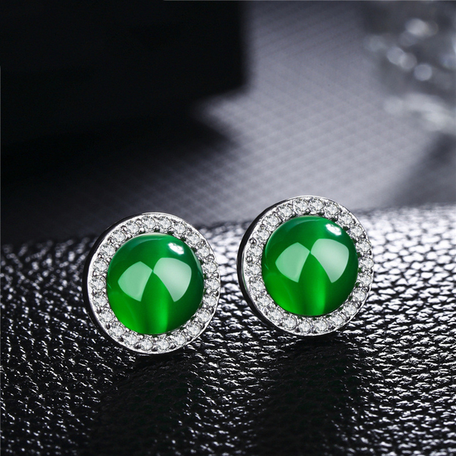 Jewepisode Vintage Red Green Chalcedony Stud Earrings For Women Real 100 925 Sterling Silver Fashion Jewelry.jpg 640x640 - Jewepisode Vintage Red Green Chalcedony Stud Earrings For Women Real 100% 925 Sterling Silver Fashion Jewelry Earring Party Gift