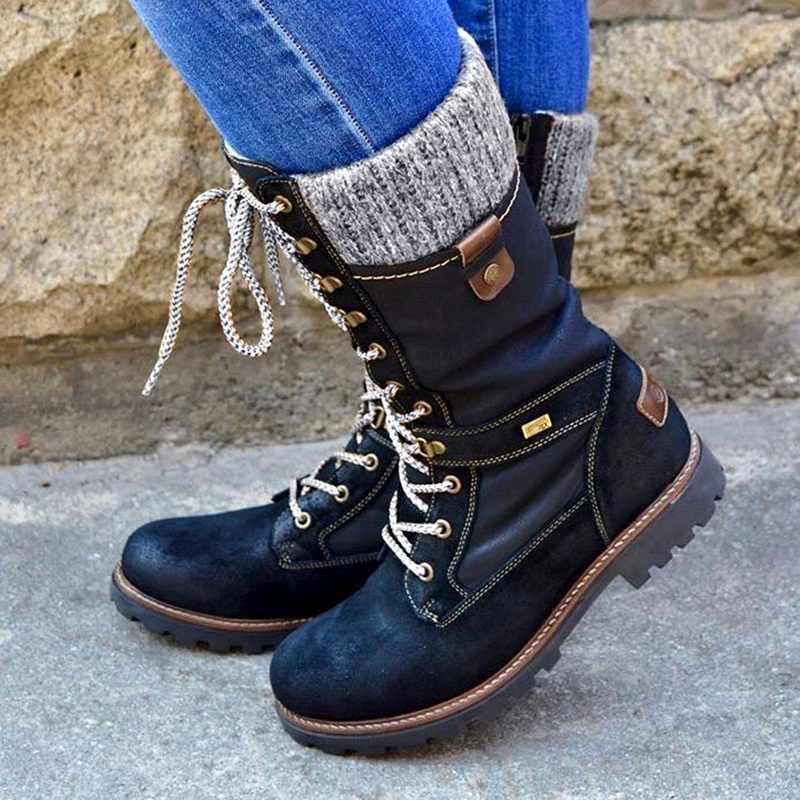 LOOZYKIT Winter Stiefel Frauen Grundlegende Frauen Mid-Kalb Stiefel Runde Kappe Zip Plattform Decor Weibliche Schuhe Warme Spitze Up stiefel Schuhe