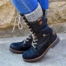 LOOZYKIT buty zimowe damskie podstawowe damskie buty ze skórki cielęcej okrągłe Toe Zip platforma Decor buty damskie ciepłe sznurowane buty buty tanie tanio Połowy łydki Pasuje mniejszy niż zwykle proszę sprawdzić ten sklep jest dobór informacji Okrągły nosek Zima Lace-up