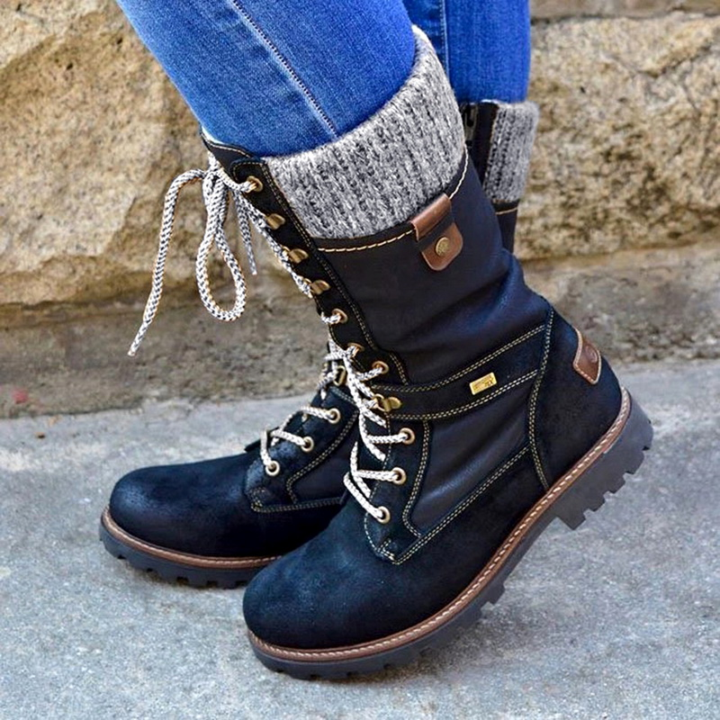 LOOZYKIT2020 Winter Boots for Women Basic Mid Calf Boots Woman Round Toe Zip Platform Boot Female Shoes Warm Lace Up Boots Shoes|Mid-Calf Boots|   - AliExpress