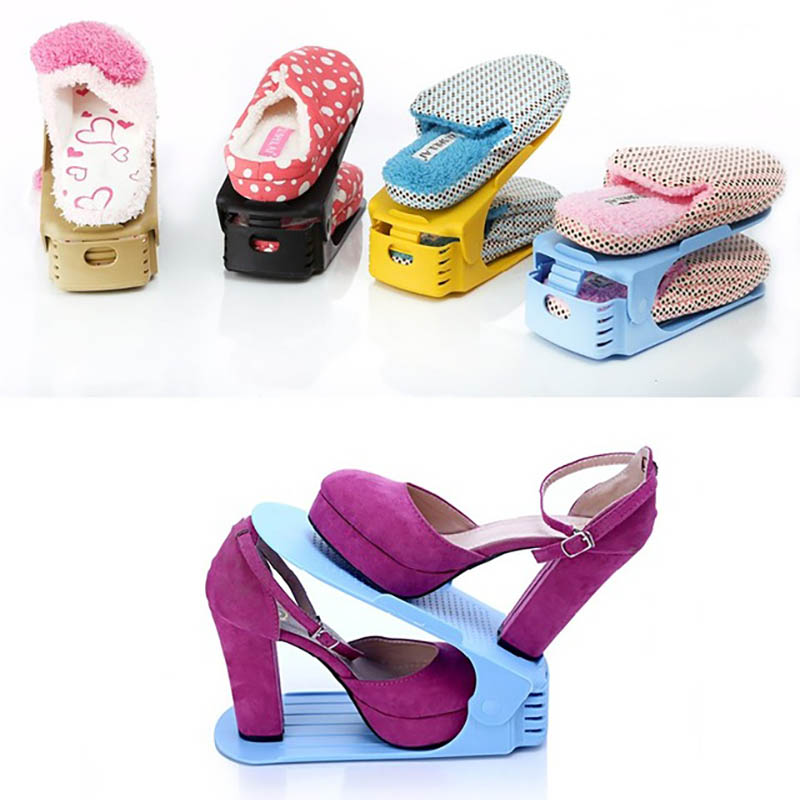 8Pcs Double Shoe Racks storage Shelf Shoe Rack Organizer Cabinet Plastic Shoes Organizers Zapatero Organizador De Zapatos
