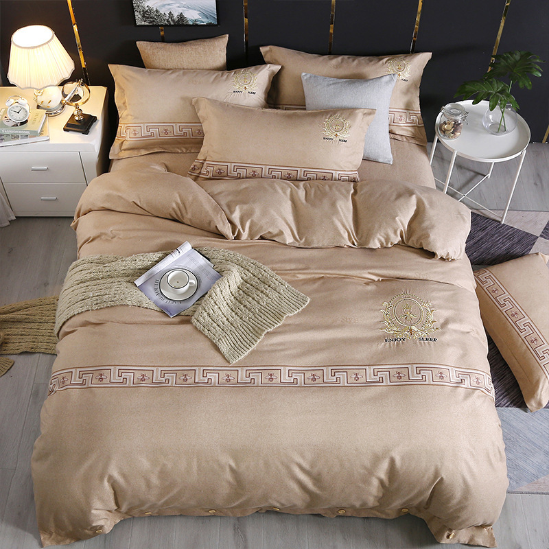 4-piece Bedding Set Wholesale Pure Cotton Brushed Cotton Colorful String Cashmere Wool Embroidered Quilt Autumn And Winter Suite