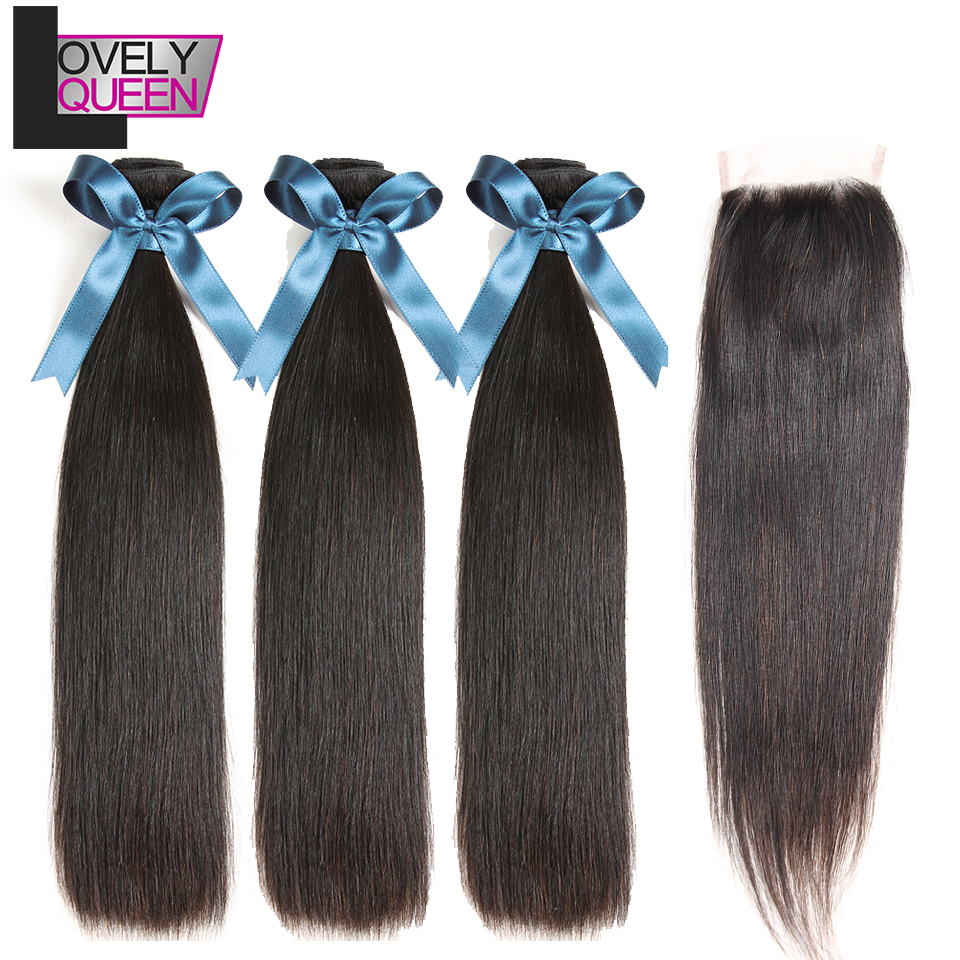 Lovely Queen Straight Hair Bundles With Closure 100% Human Hair 3 Bundles With Closure Peruvian Hair Bundle With Closure NonRemy