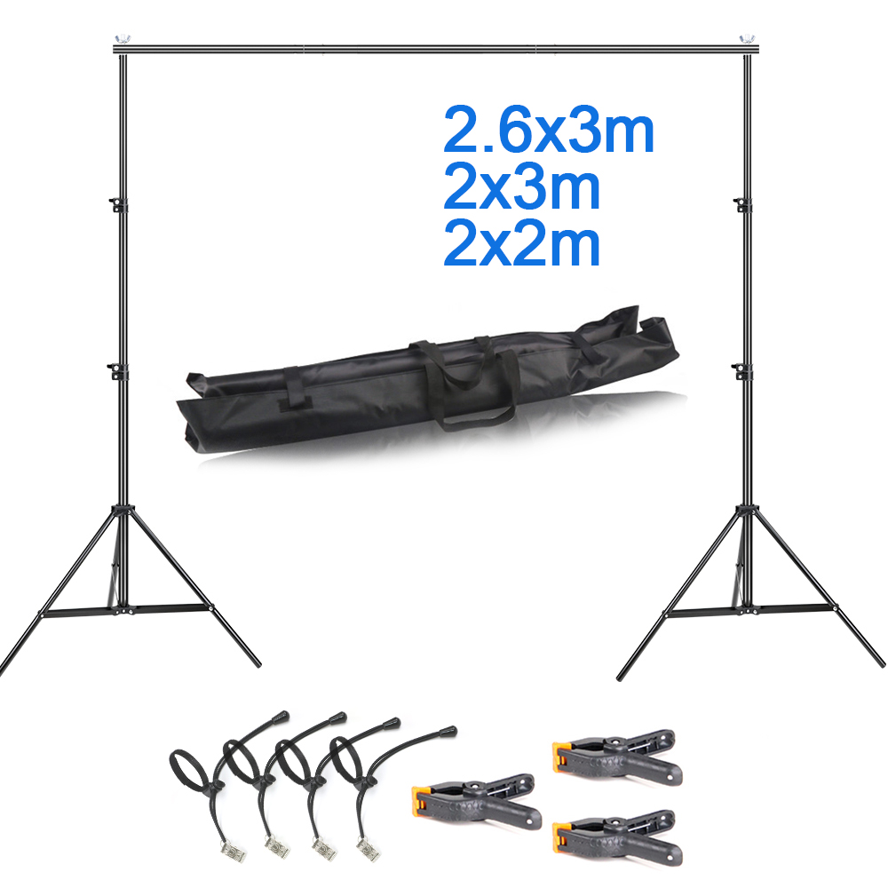 2 x 3m/2.6x3m Background Stand Photography Green Screen Backdrops Stand Chromakey Support System Frame For Photo Studio With Bag