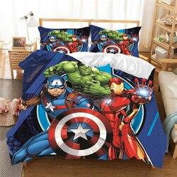 Marvel Avenger Alliance 3D zestaw pościeli iron Man Queen duży rozmiar zestawy pościeli z kołdrą pościel Cartoon kołdra opakowanie na prezent