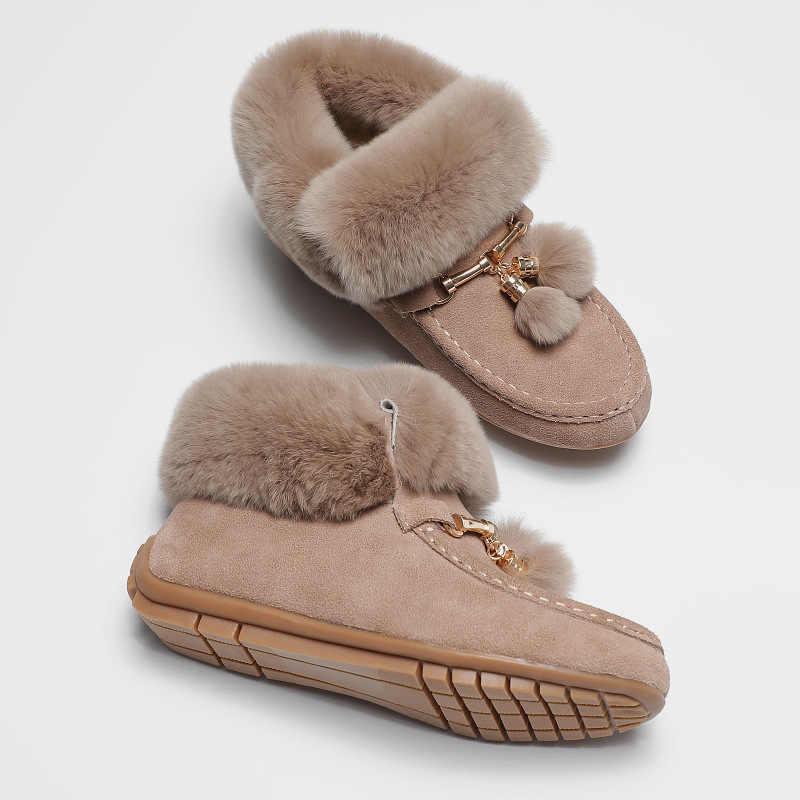 Winter Sneeuw laarzen vrouwen echt leder fur ankle botas lady warm pluche mocassins metalen ketting kwastje creepers oxfords platte schoenen