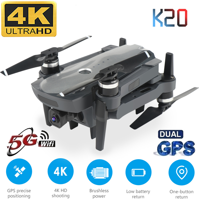 New <font><b>Drone</b></font> K20 With <font><b>Brushless</b></font> Motor 5G GPS <font><b>4K</b></font> HD Dual Camera Professional Foldable Quadcopter 1800M RC Distance Toy Boy's Gift image