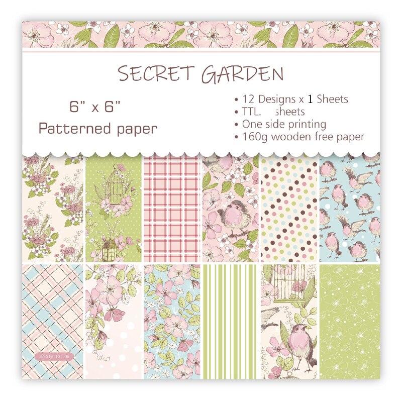 KLJUYP 12 Sheets Secret Garden Scrapbooking Pads Paper Origami Art Background Paper Card Making DIY Scrapbook Paper Craft