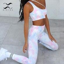 One Shoulder Sports Clothing Sexy Long Pants Leggings Sportswear Tie Dye Yoga Set 2020 Women Seamless High waist Workout Gym Set