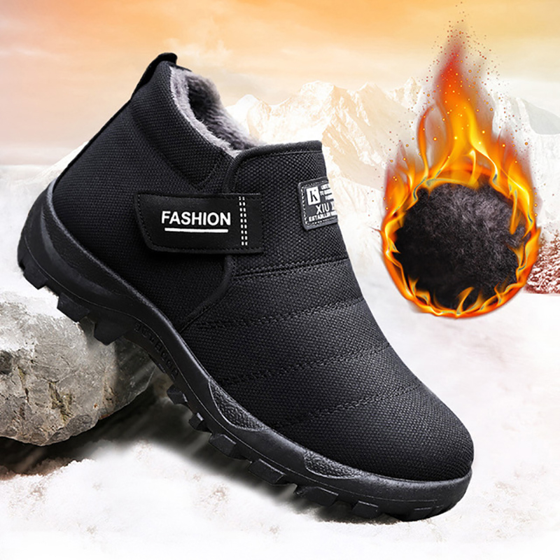 Plush Men Shoes Winter Snow Boots Warm Fur Inside Casual Ankle Boots Men Slip-on Loafer Antiskid Bottom Cotton Shoes For Father