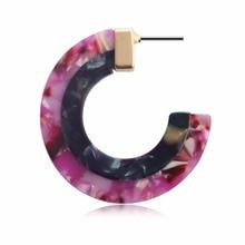 C Shaped Acrylic Earring Dual Colored Large Geometric Drop For Women Boho Trendy Resin Acetate Dangle Jewelry