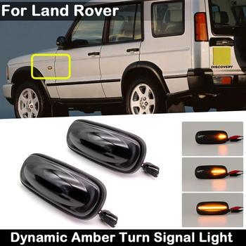 2Pcs For Land Rover Defender Freelander Discovery 2 Smoked Lens LED Side Marker Lamp Dynamic Amber Turn Signal Light