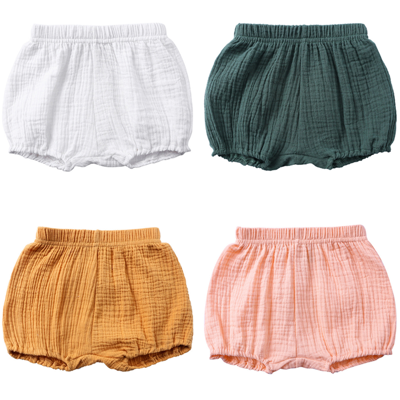 2019 New Toddler Baby Girls Shorts Cotton Summer Casual Boys Short Elastic Linen Cotton Solid PP Pants Bread Bloomer Outfit 1-4Y