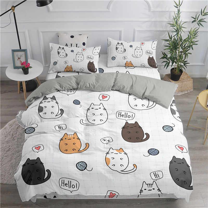 Cartoon Bedding Set Cute Cats Printed 3D Duvet Full Queen King