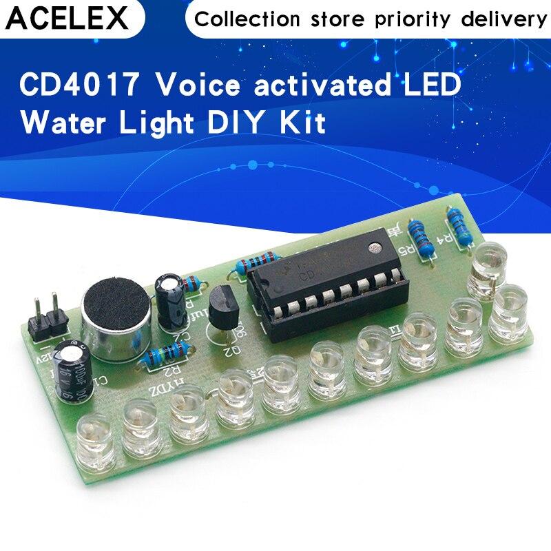 Голосовое управление Светодиодный фонарь с эффектом воды комплект CD4017 Фонари Управление весело электронного производства для обучения Diy ...
