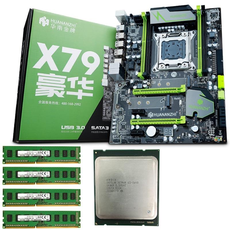 HUANANZHI Motherboard Set X79 Pro Motherboard With Dual M.2 Slot NVMe SSD CPU Intel Xeon E5 2640 2.5GHz RAM 16G(4x4G)