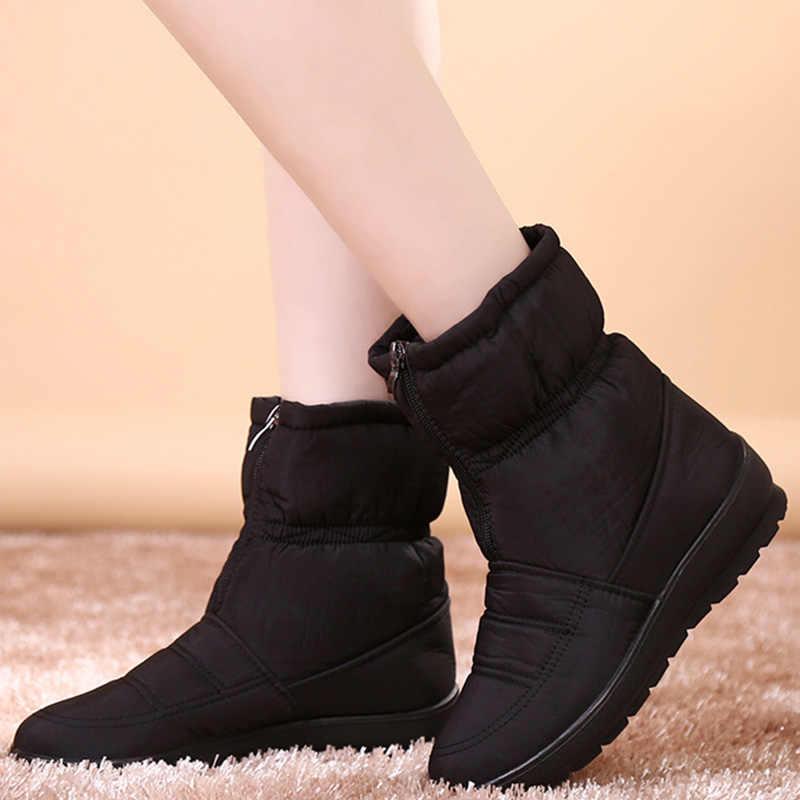 Yarım çizmeler kadınlar kışlık botlar için peluş sıcak kar botları kadın kış ayakkabı patik su geçirmez kadın botları anne ayakkabısı 2019