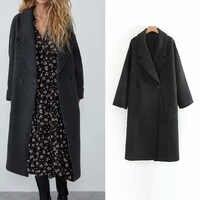 Za Women blend coat artificial woolen autumn jacket Turn-down Collar female casual solid long straight Outerwear streetwear
