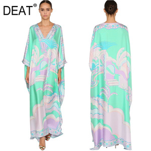DEAT 2020 Over Long Length Dress Women Silk Print Vacation Bohemian Batwing V Collar Over Size Elegant New Fashion Tide AR666