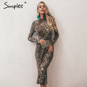 Simplee Sexy leopard print women long dresss Autumn long sleeve sashes bodycon stretch dresses Elegant party female vesitidos(China)
