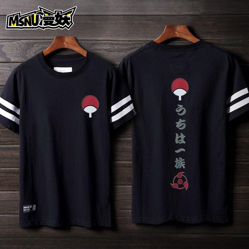 Hot Anime Naruto Uzumaki Naruto/Sasuke Uchiha Cosplay Costume Loose Couple Short-Sleeve T-Shirt Daily Wear Or Role Play Clothing
