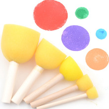 5Pcs/set DIY Wooden Assortment-Sponge Paint Brushes Toys Different Size Painting Stamps Early Childhood Toys School Stationery S