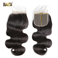 BAISI Hair Brazilian Body Wave 5x5 Swiss Lace Closure Middle Part Free Part Three Part 100% Human Hair