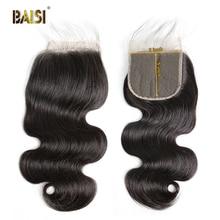 BAISI Kıvırcık Bob Peruk 13x6 Dantel ön peruk Brezilyalı Insan Saçı Doğal saç Çizgisi Bebek Saç Yüksek Yoğunluklu Peruk siyah Kadınlar için