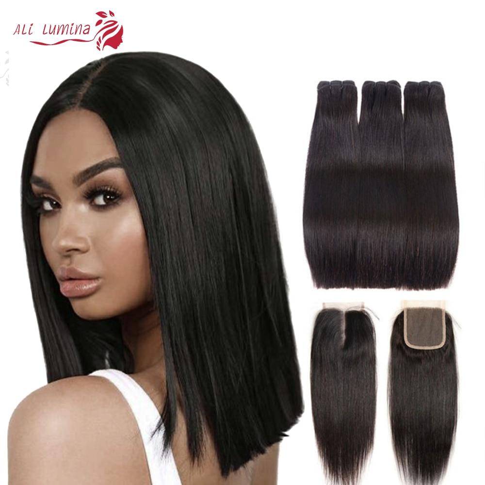 Double Drawn Straight Hair Bundles With Closure Ali Lumina 1