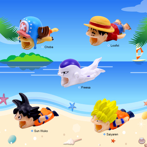 Image 3 - CHIPAL קריקטורה ביס בעלי החיים כבל מגן עבור iPhone USB נתונים מטען חוט וינדר ארגונית Chompers טלפון מחזיק אבזר