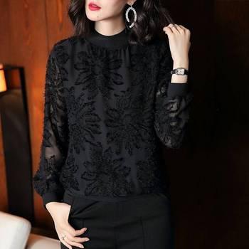 2020 wiosna nowy zagraniczny styl moda mała koszula kobieta czarny dziki z długimi rękawami koronkowa koszulka żeńska wokół szyi długa koszula tanie i dobre opinie Pateekate Poliester Akrylowe REGULAR O-neck Haft Pełna Na co dzień Tkane Stałe RXY0997
