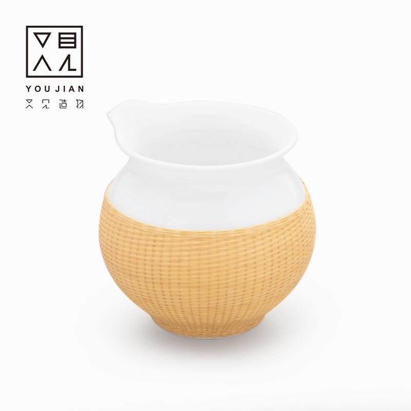 Bamboo silk button porcelain fair cup ceramic cup tea dispenser simple tea haigong tea set tea ceremony accessories