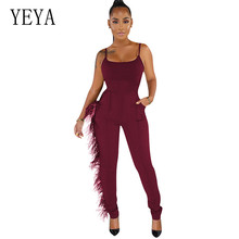 YEYA New Summer Black Bodycon Jumpsuits Fashion Sexy Spaghetti Strap Feathered Vest Playsuits Sleevleess Hollow Out Party Wear