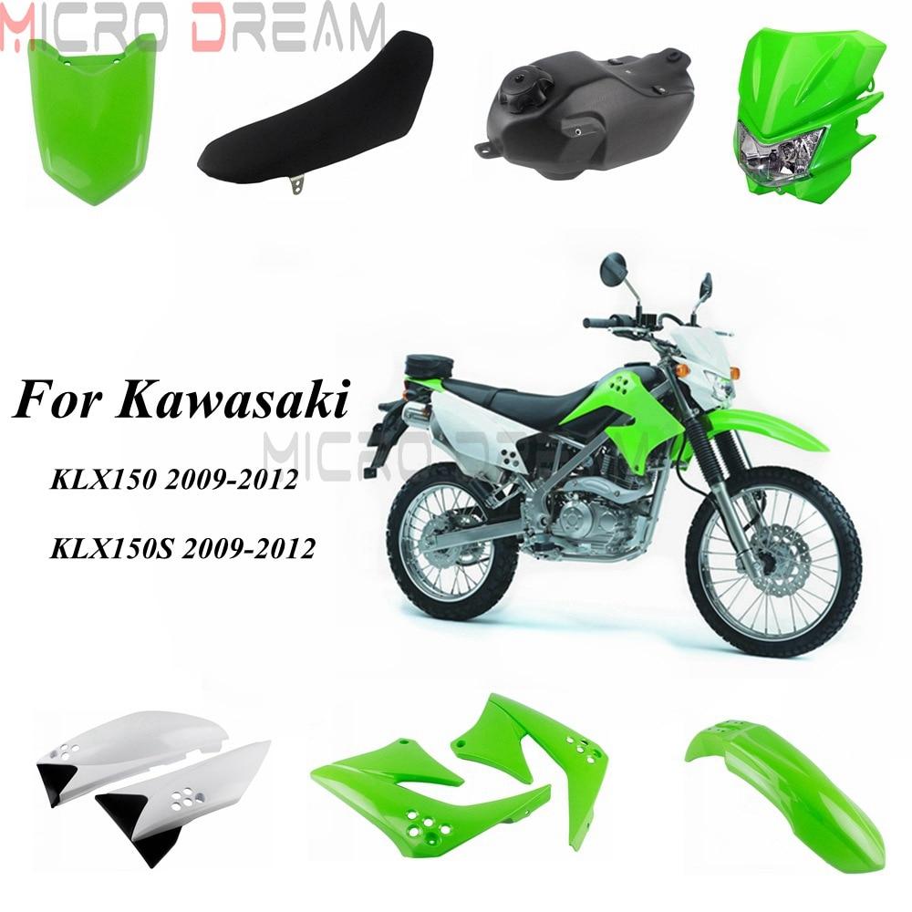 Pour Kawasaki KLX150 KLX150S 2009-2012 Motocross Dirt Bike ABS Kit de carénage en plastique phare huile réservoir de carburant siège garde-boue couvercle latéral