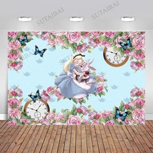 Pink Flower Blue Butterfly Baby Shower Backdrop for Girl Alice In Onderland Backdrop Happy 1st Birthday for Girls Party