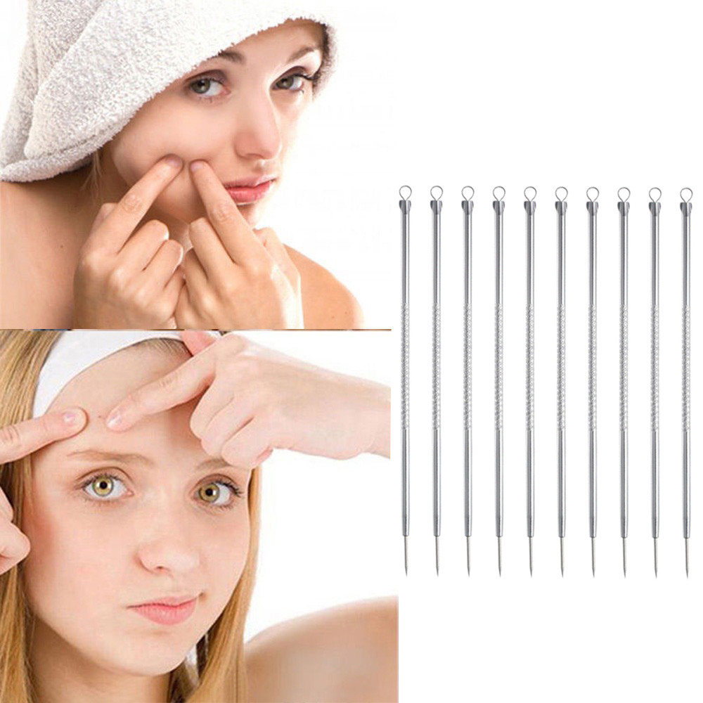 Hot Sale 10PC/Set Premium Blackhead Needle Comedone Acne Pimple Blemish Treatments Extractor Remover Face Skin Care Tool Kit 925