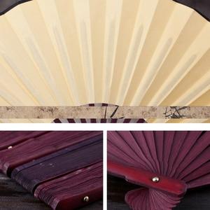 Image 5 - 10.6 אינץ/13 אינץ משי בד ריק סיני מתקפל מאוורר עץ במבוק עתיק מתקפל מאוורר עבור קליגרפיה ציור