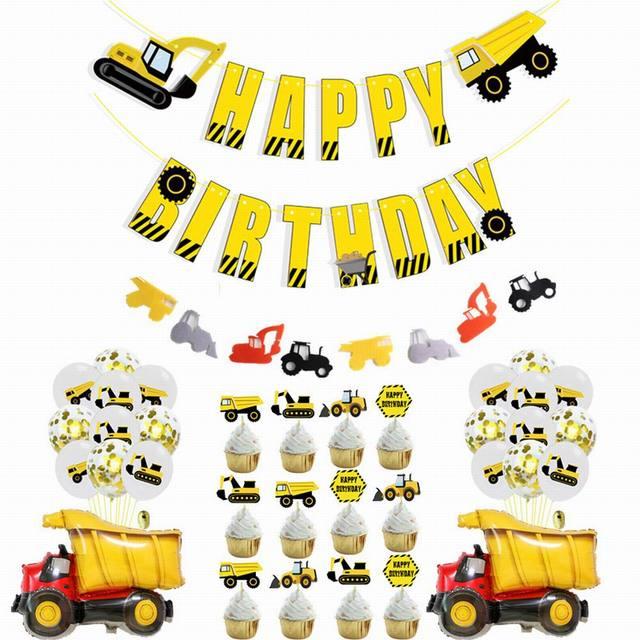 Ciągnik budowlany temat koparka nadmuchiwane balony ciężarówka pojazd banery Baby Shower dzieci chłopcy materiały urodzinowe