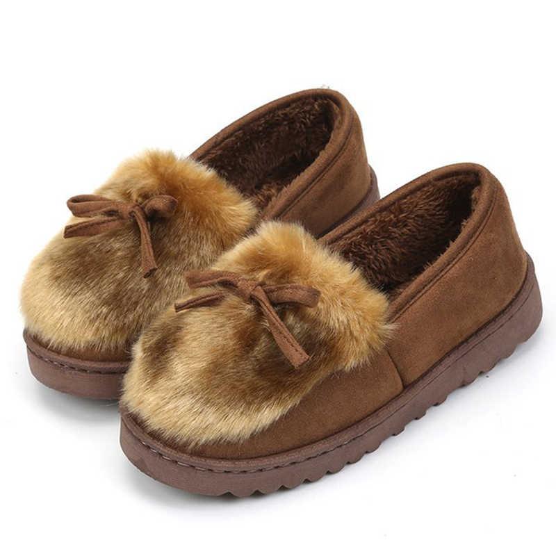 KARINLUNA yeni moda sıcak satış kız kış sıcak düz çizmeler bayan kürk yarım çizmeler kadın 2019 gündelik slip-on ayakkabılar kadın